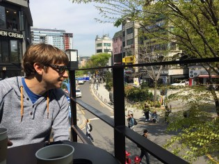 This cafe, overlooking the cool and young neighborhood, helped us feel old and judgmental.