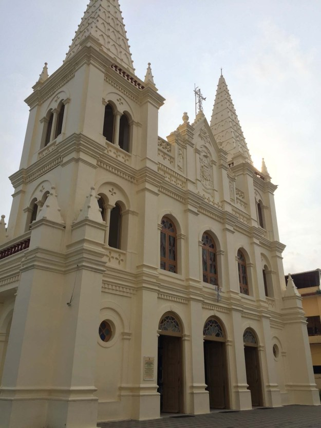 Beautiful reconstructed Santa Cruz Basilica in Fort Kochi, the touristy neighbourhood. Originally built by the Portuguese in the 1500's.