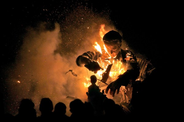 Burning effigies of David Cameron and Nick Clegg, Cliffe Bonfire Society, Lewes, Sussex, 2010