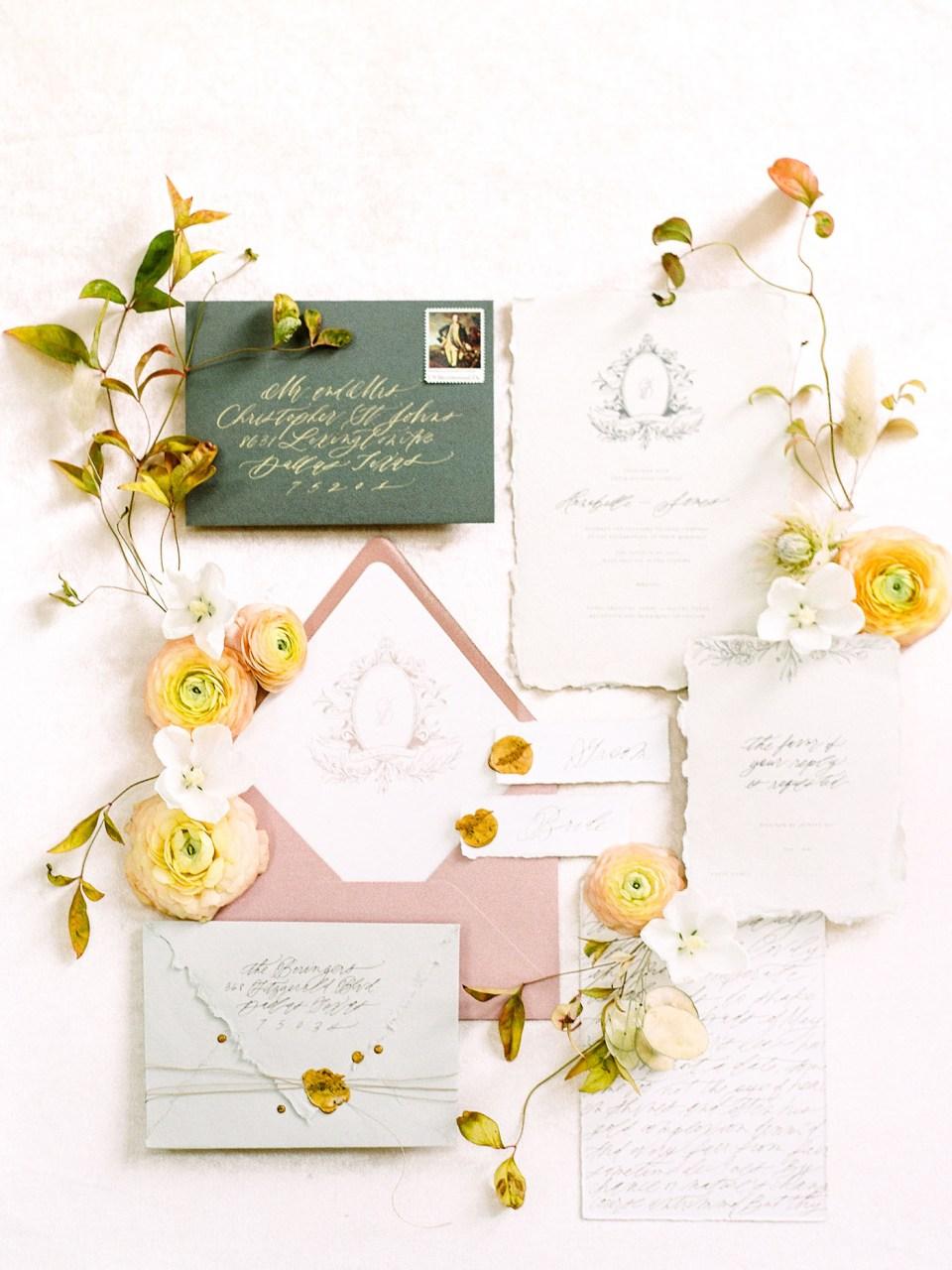 Fine Art Wedding Invitation Suite Design - Sarah Ann Design - Magnolia Rouge Feature