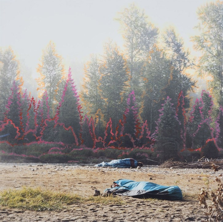 Sleeping Bags - 2015 - 15 x 15 - Chromogenic Print, Acrylic Paint