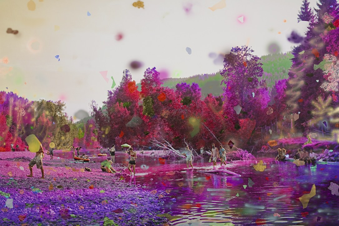 Purple River - 2017 - Inkjet Print with Acrylic Paint, Tape and Glitter