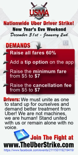 Uber Driver Strike Flyer