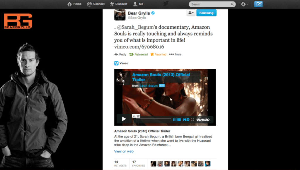 Bear Grylls tweets about Sarah Begum