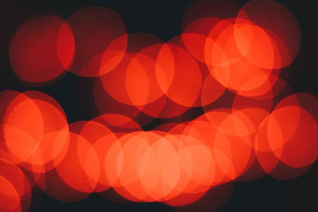 Diffused orange/red lights.