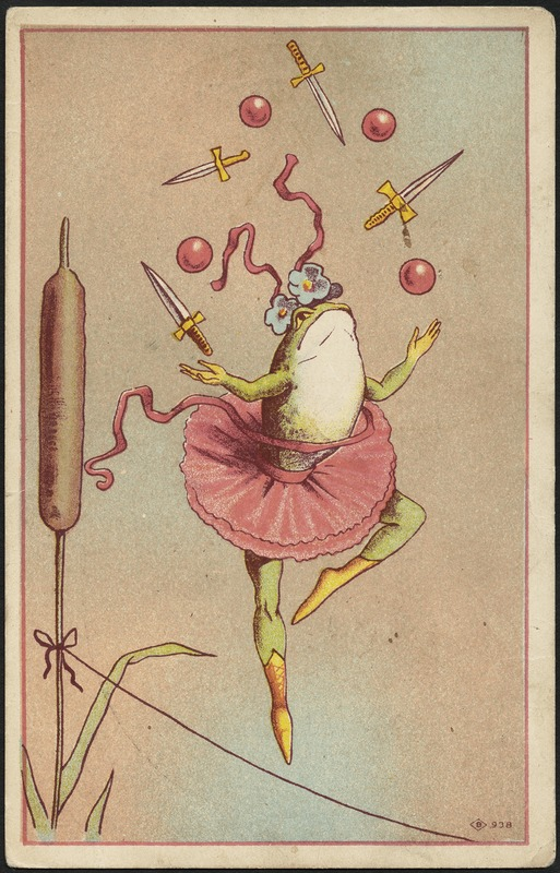 Whimsical vintage advertisement for Doctor Thomas' nerve tonic featuring a lady frog juggling knives in a tutu. ca. 1870-1900.