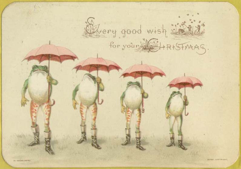 Christmas card with frogs holding umbrellas wearing boots. Victorian.