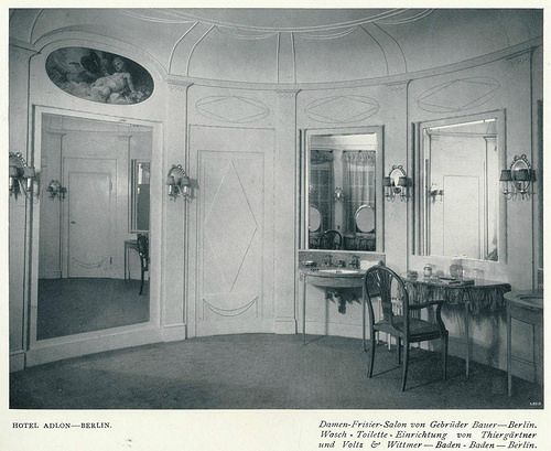 Ladies power room. Hotel Adlon, Berlin. 1908.