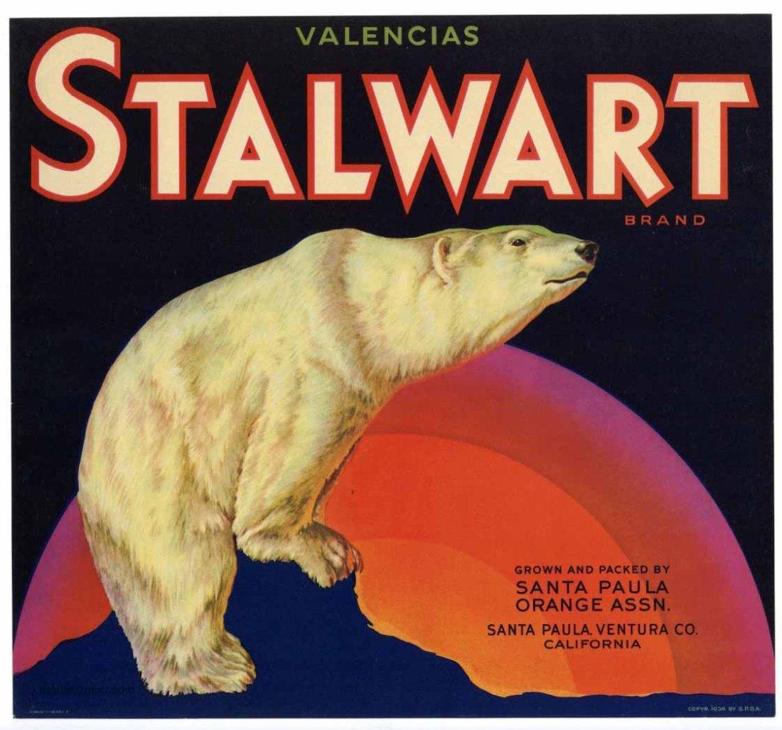 Stalwart brand valencia orange crate label.