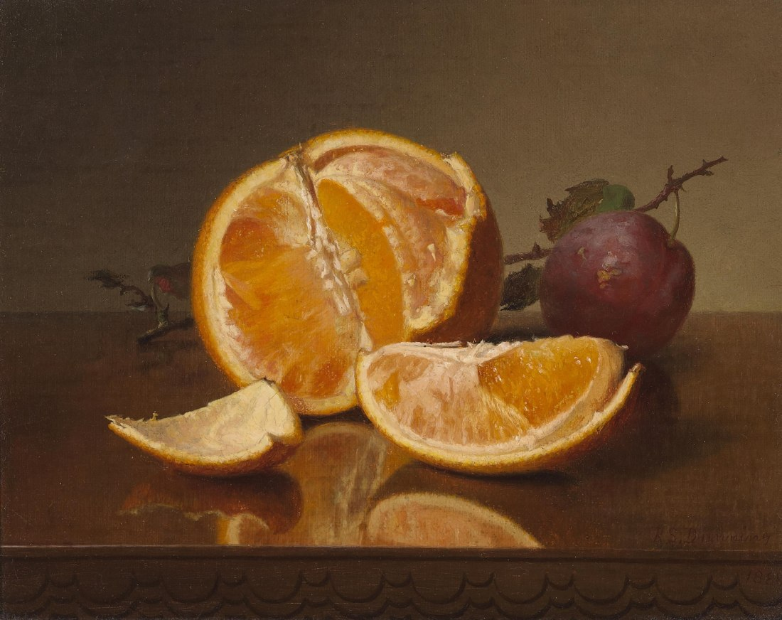 """""""Still Life with Orange and Plum."""" 1881. Oil on canvas. Private collection."""