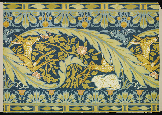 """""""Rabbit and Deer"""" design wallpaper frieze. 1887."""