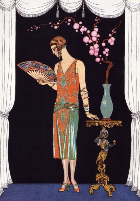 "Worth evening dress. Plate 47 from ""La Gazette Du Bon Ton"" Depicting Day and Evening Dresses, 1924-25."