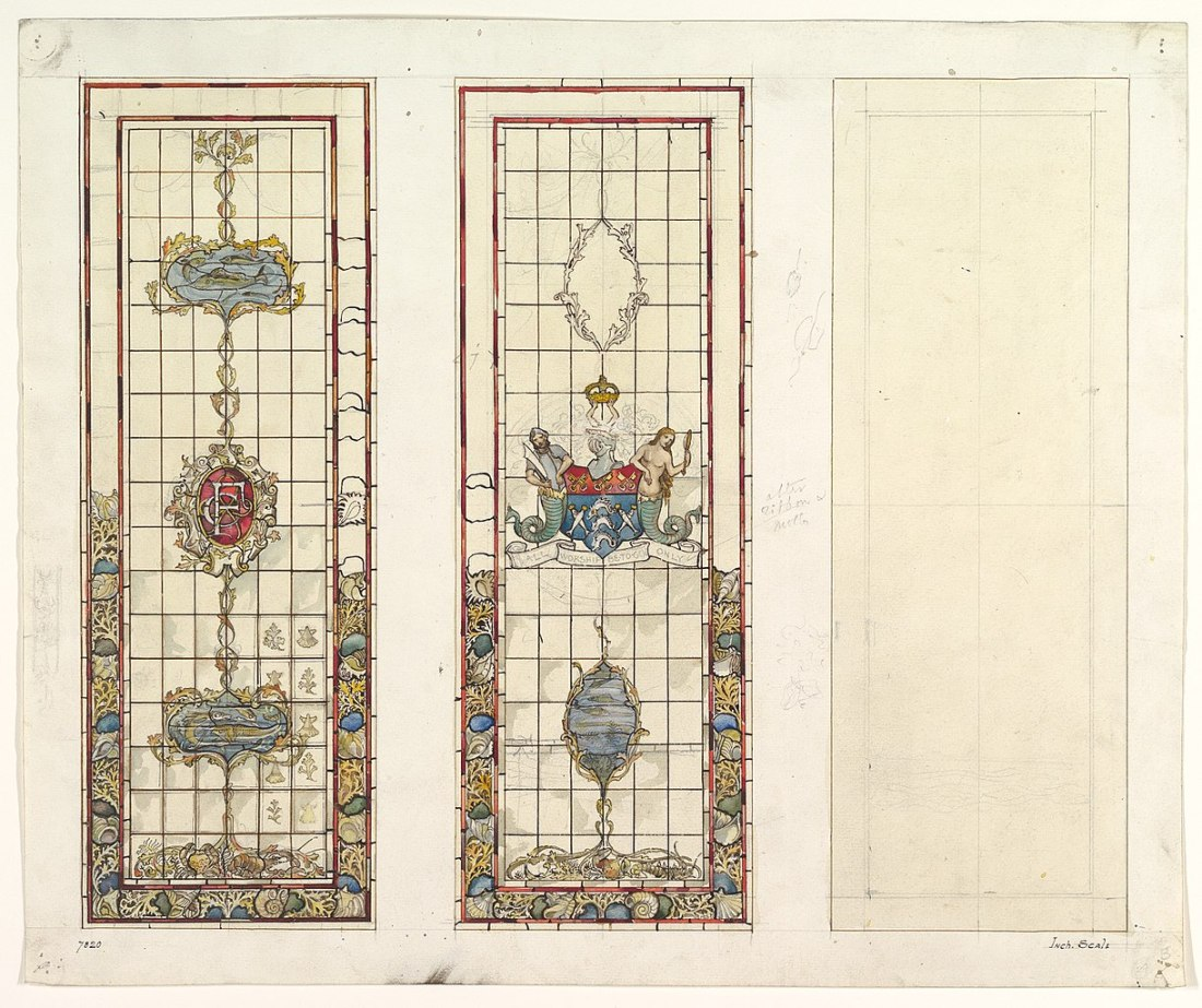 Design of marine motifs for stained glass. 19th c.