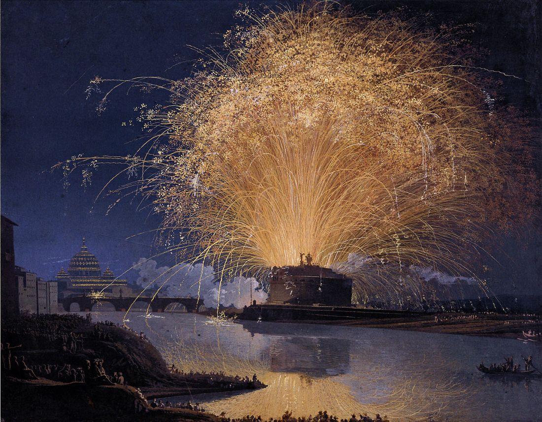 """Fireworks over Castel Sant'Angelo in Rome."" 1775."