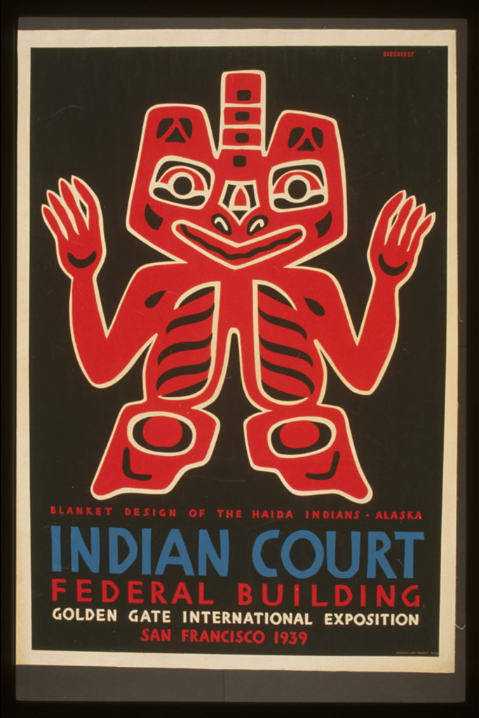Blanket design of the Haida Indians from the Indian court of the Golden Gate International Exhibition. 1939.