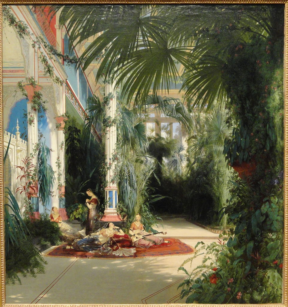 """The Interior of the Palm House on the Pfaueninsel near Potsdam."" 1834."