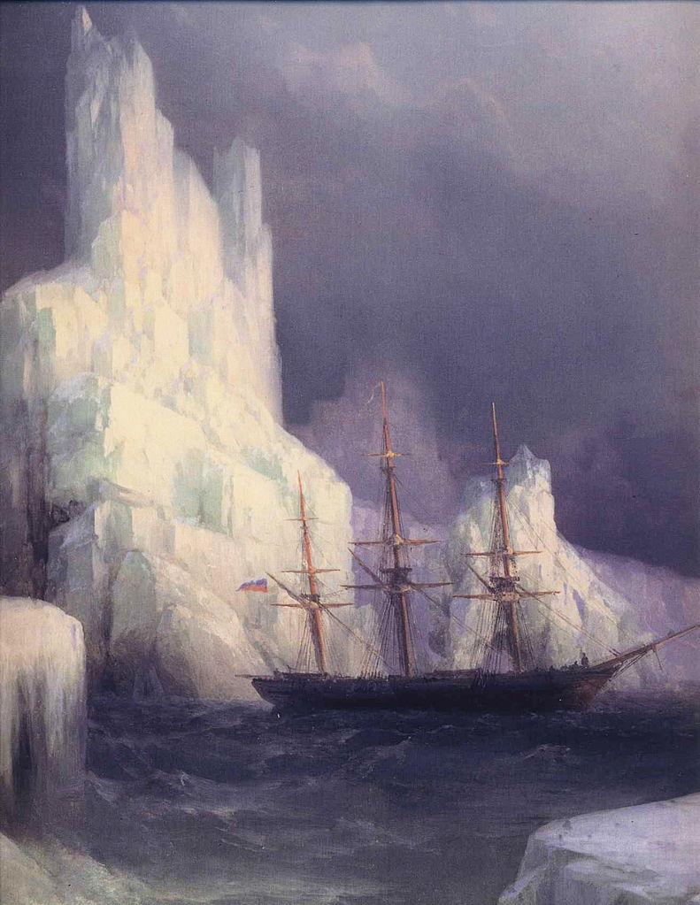 """Icebergs in the Atlantic"" (detail). 1870."