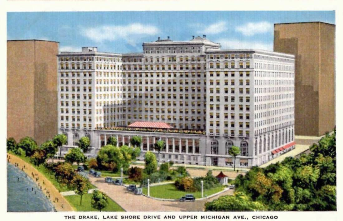 """The Drake, Lake Shore Drive and upper Michigan Avenue, Chicago."" 1935."