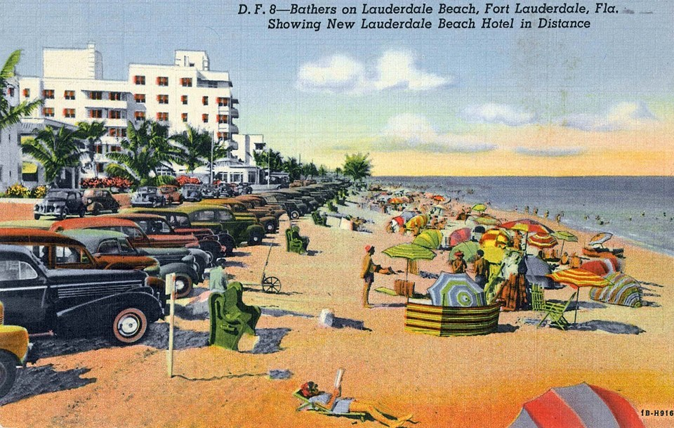Bathers On Lauderdale Beach, Fort Lauderdale, Florida showing New Lauderdale Beach Hotel in background.