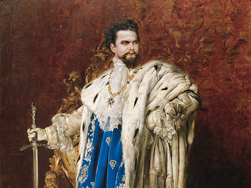 """""""Ludwig II of Bavaria as the Grand Master of the Order of the Knights of Saint George"""" (detail). 1887."""