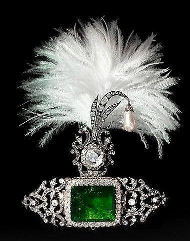 Indian turban ornament and brooch (sarpesh). ca. 1900.