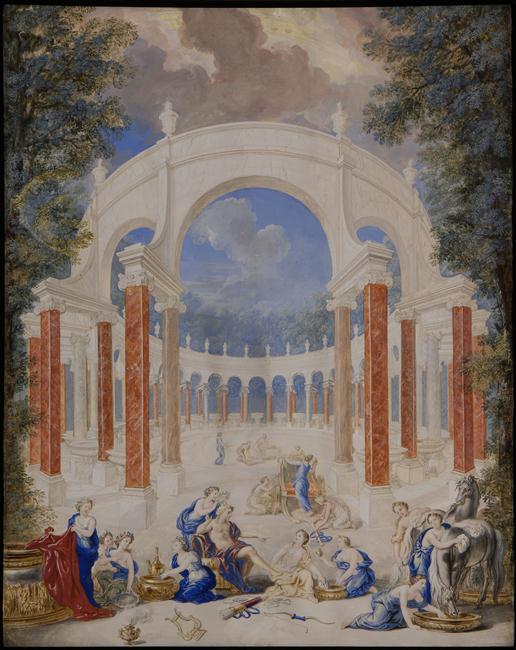 Vue du Bosquet de la Colonnade dans les jardins de Versailles. 1693.