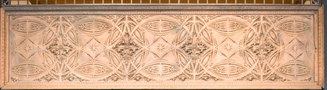 Pair of elevator grilles, frieze and overgrille (frieze detail). ca. 1893-1894.