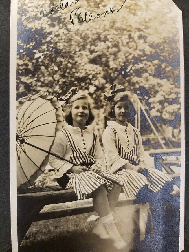 Eleanor Post Close and Adelaide Brevoort Close in matching dresses. ca. 1912.