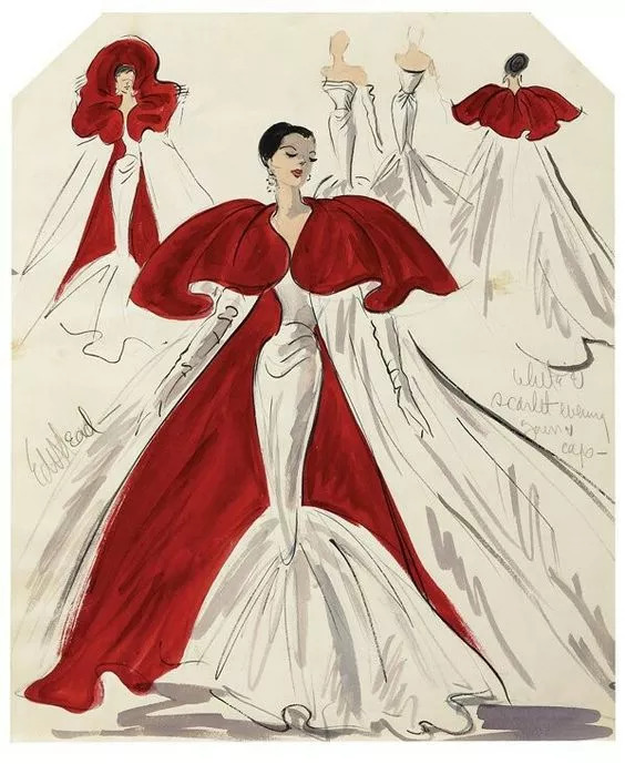 Scarlet and red evening gown and cape. Undated sketch.