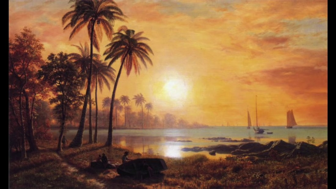 """""""Tropical landscape with fishing boats."""" Undated."""