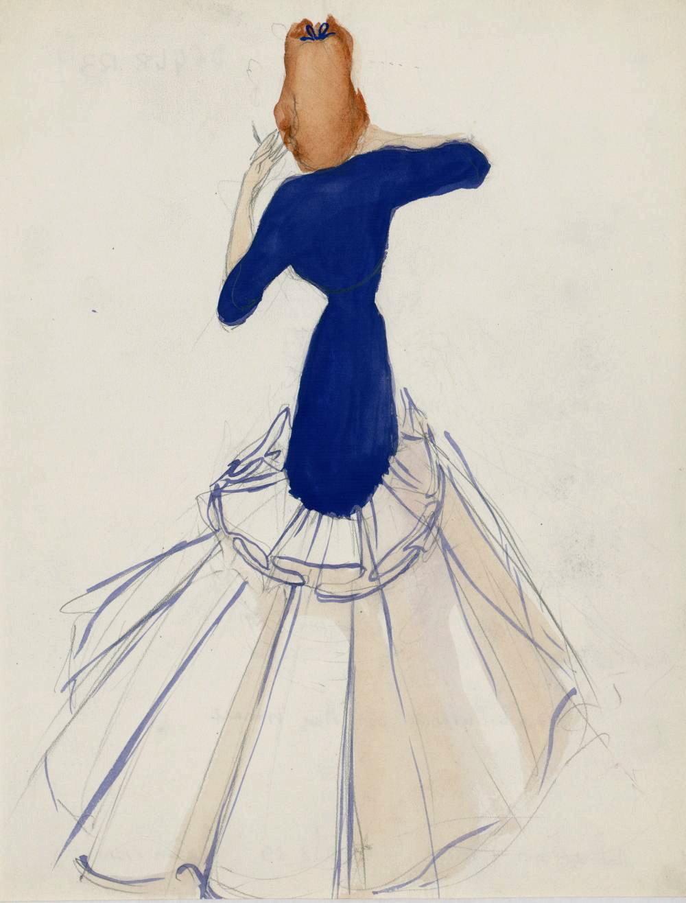 Drawing of a 'modèle de robe longue'. 1938-39.