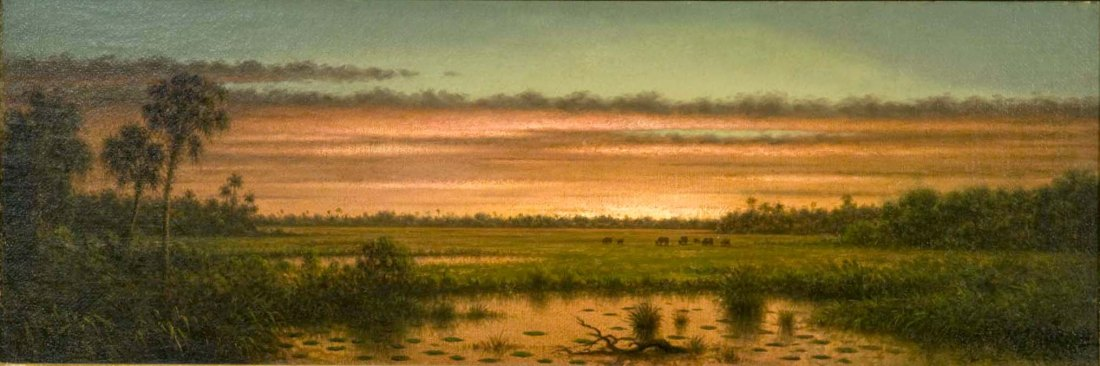 """""""Sunset, Tropical Marshes, Florida."""" ca. 1880."""