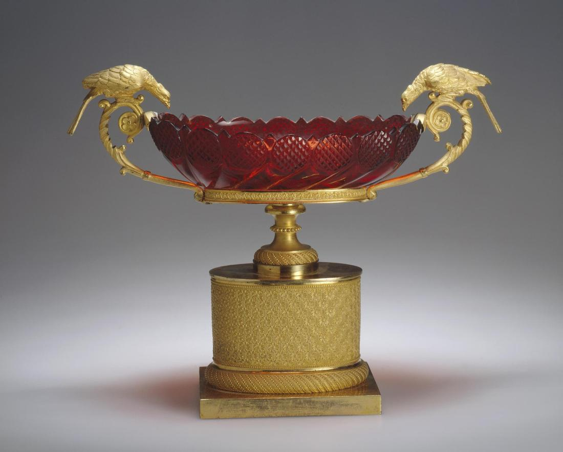 Vase. Early 1800's. Ruby glass and gold.