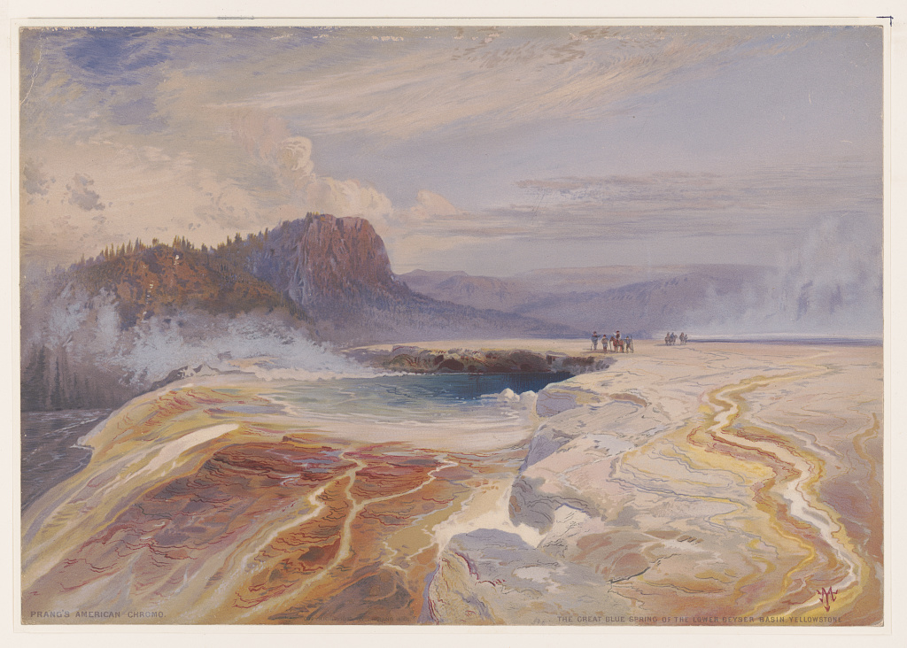 """""""The great blue spring of the Lower geyser basin, Yellowstone."""" ca. 1875."""