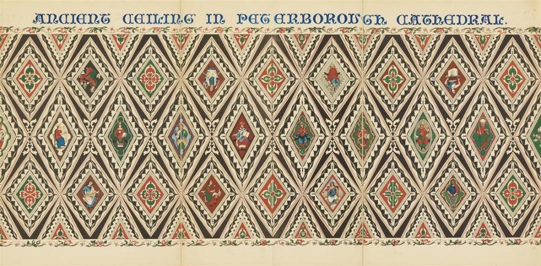 Strickland's Lithographic Drawing of the Ancient Painted Ceiling in the Nave of Peterborough Cathedral. 1849.