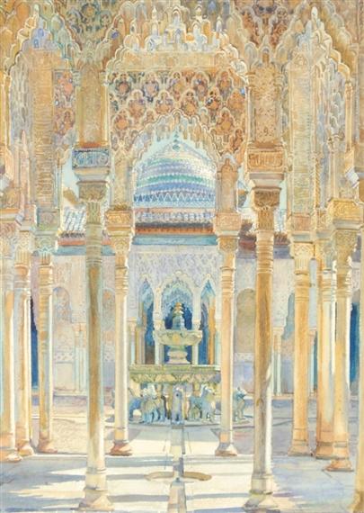 """""""El Patio de Los Leones (Court of the Lions)."""" 1920."""