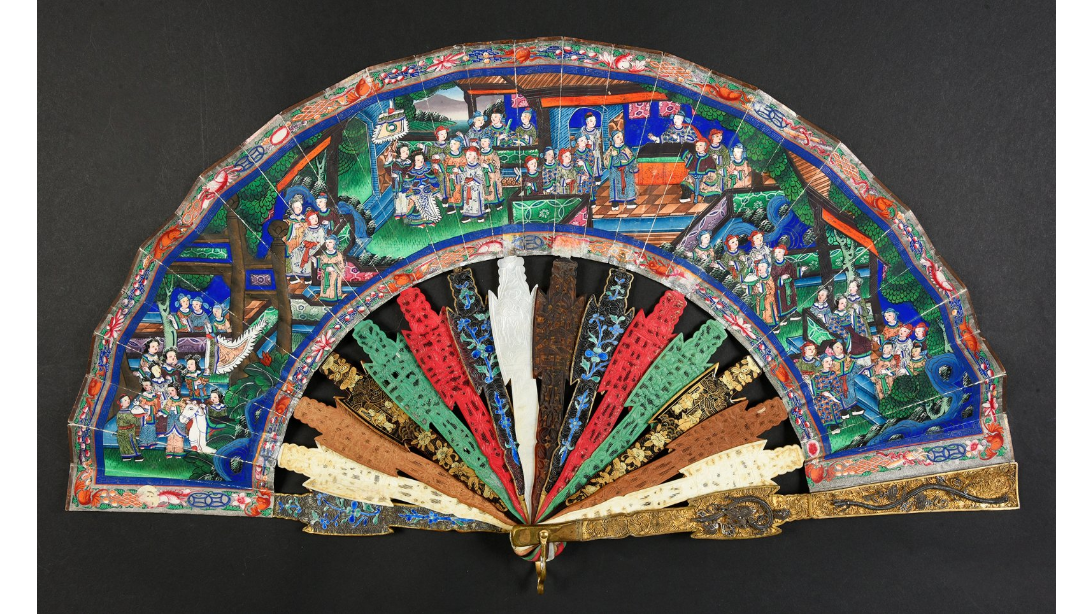 Fan with a material games motif. ca. 1880.