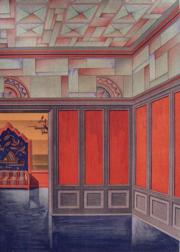 Interior. 1929. Orange and teal.