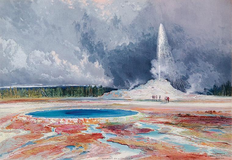 """""""Castle Geyser, Yellowstone."""" 1874."""