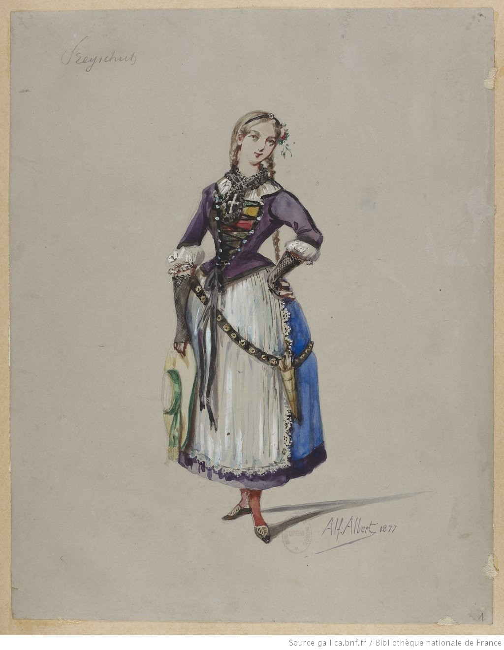 """Costume sketch or maquette for a production of the opera """"Der Freischütz"""". 1870-1877."""