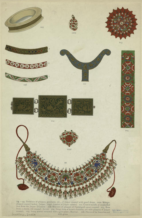 Enamel and gold-plate jewelry.