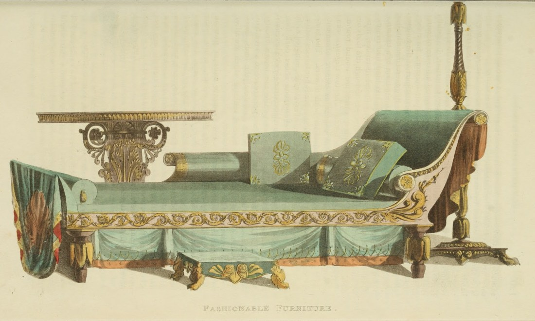 Sofa, sofa-table, candelabra and footstool. Plate 9. 1822.