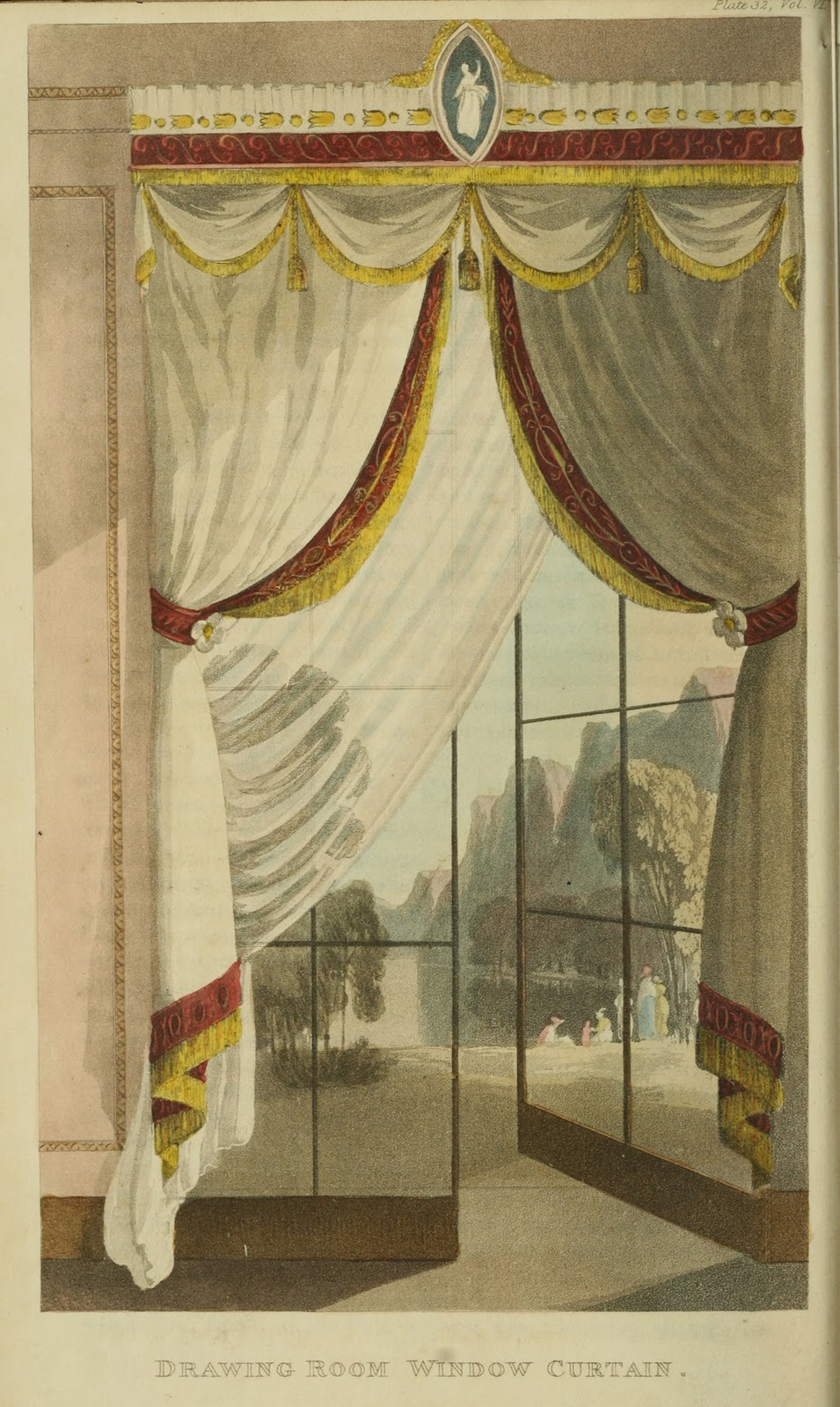 Drawing room curtains. Plate 32. 1818.