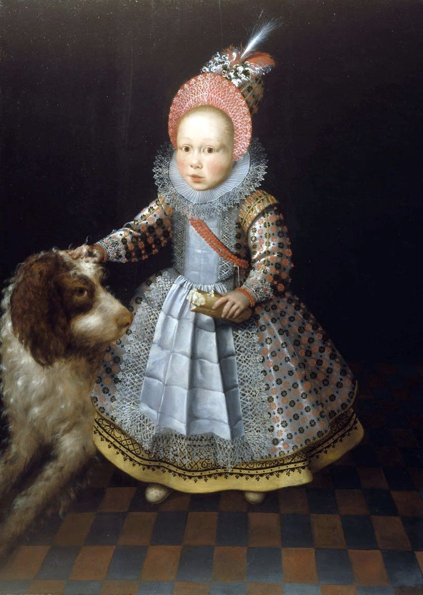 """""""Portrait of a child with a dog."""" 1605."""