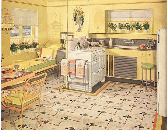 Yellow and green kitchen. 1941. Armstrong.