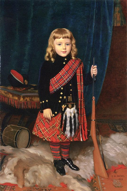 """""""Portrait of a Young Boy, Wearing Highland Dress."""" 1892."""