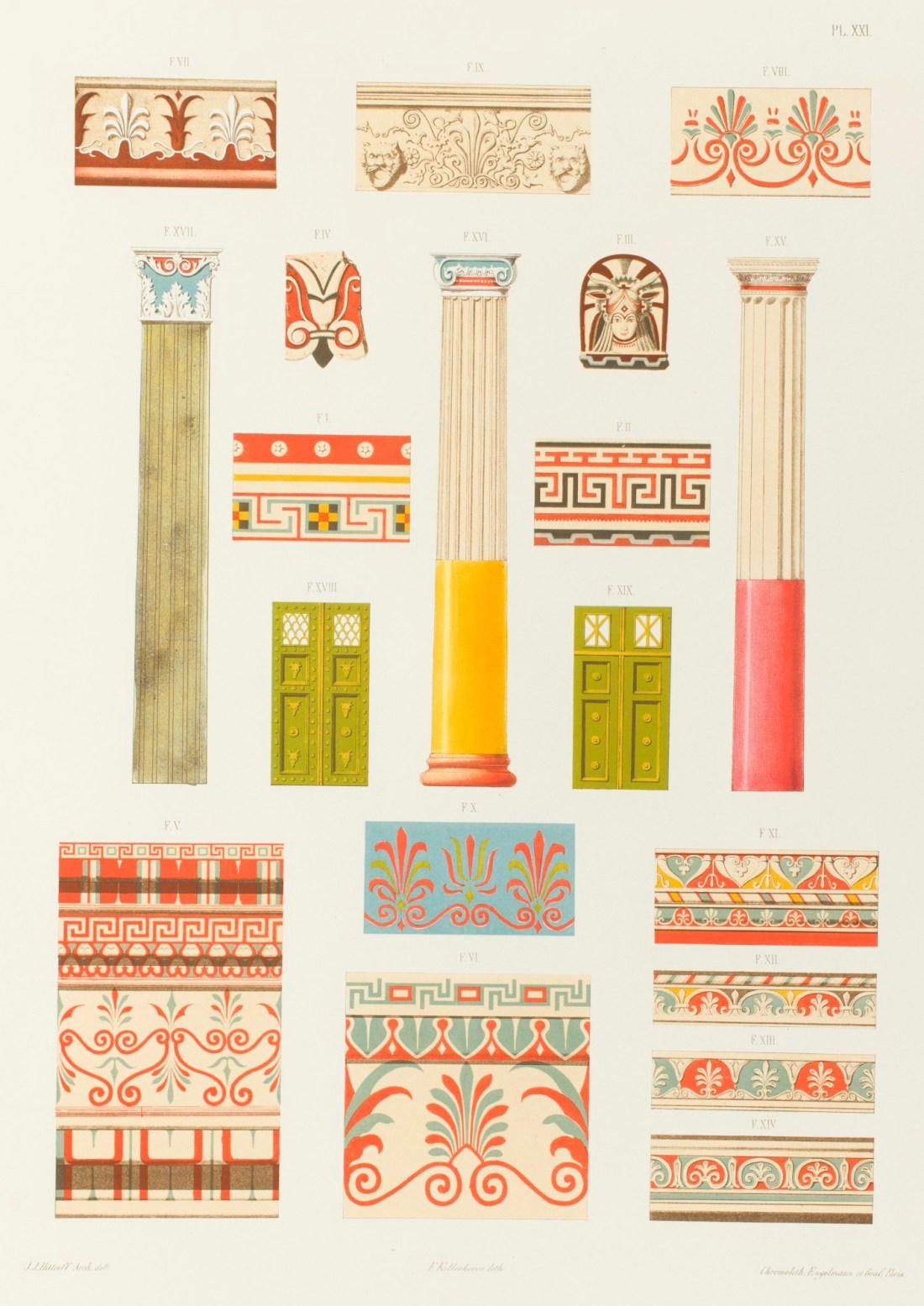 """""""Colonnes, pilastre, ornements, portes, cymaises, antéfixe et fragments de Pompéi, de la Sicile et de l'Étrurie, 1846."""" Plate XXI."""