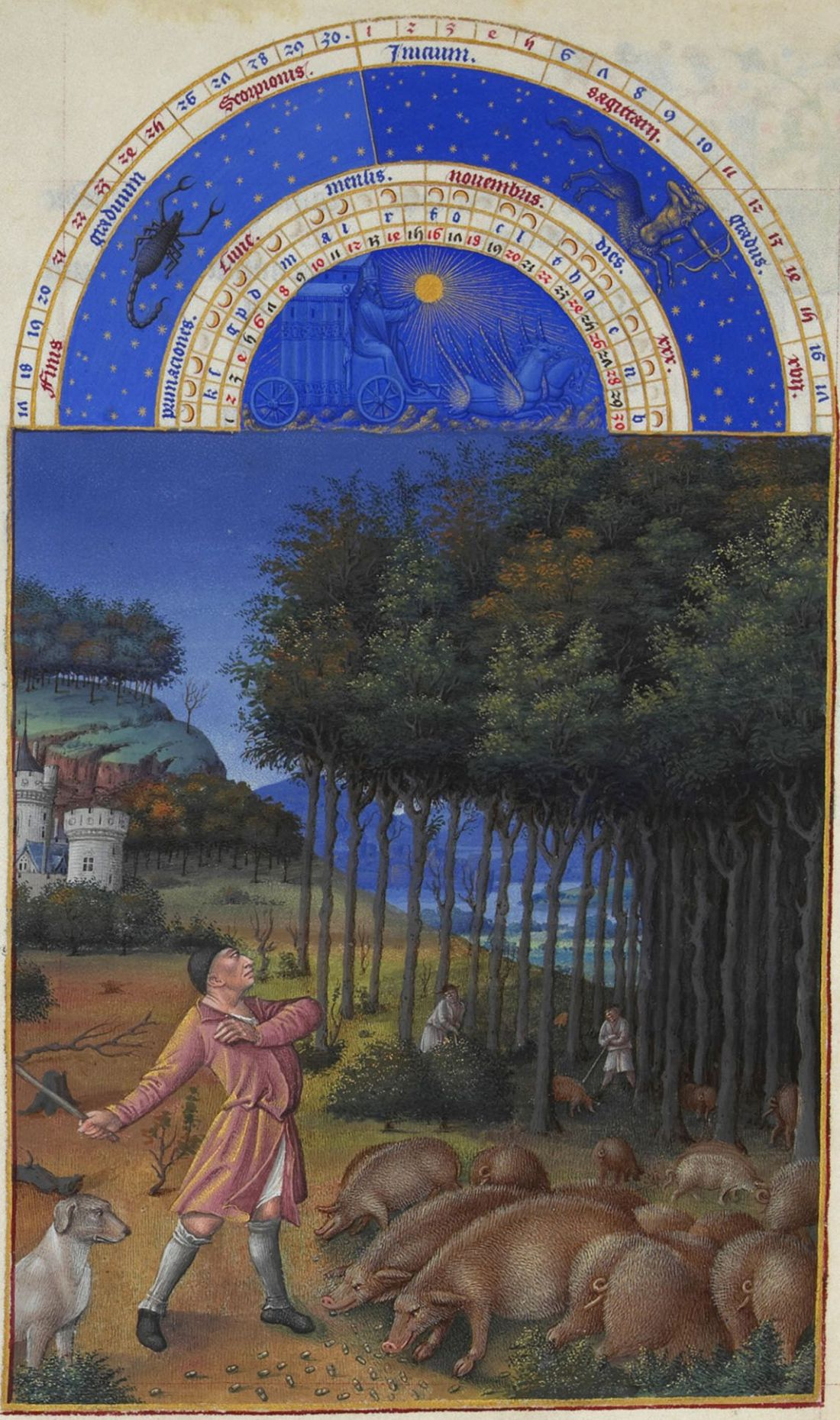 November from the Tres Riches Heures du duc de Berry. 1412-1416.