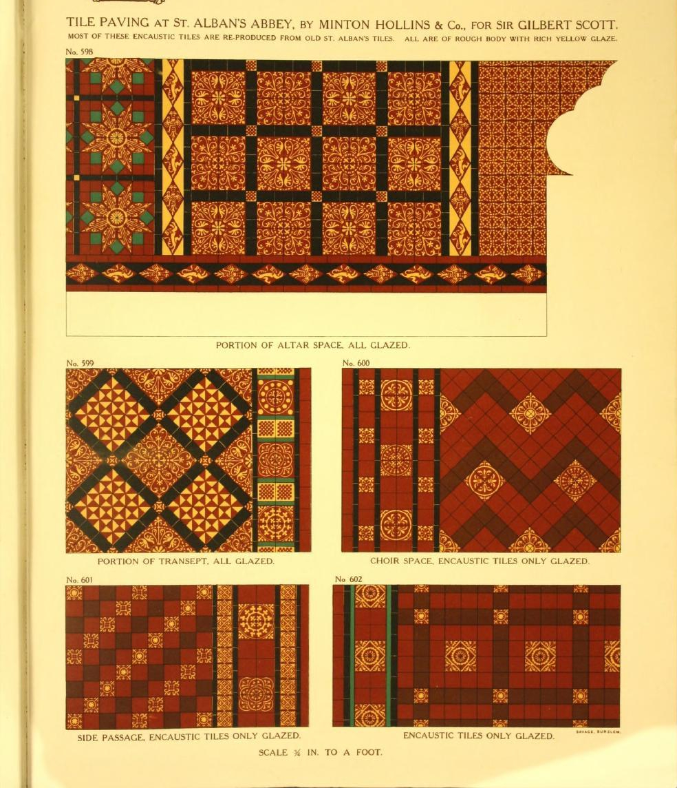 """""""Tile paving at Saint Alban's Abbey, done by Minton Hollis & Company for Sir Gilbert Scott."""""""