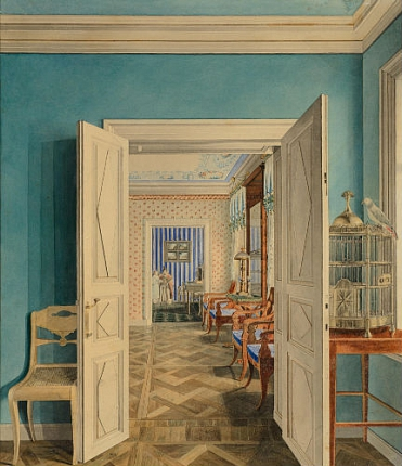 """""""A suite of rooms with a birdcage in the foreground in an unknown mansion."""" 1830's."""